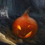 Futterblatt-Hund-Kürbis-Halloween